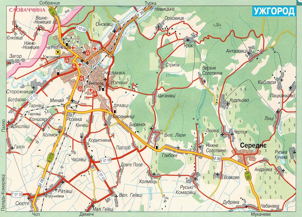 Мапа ужгорода