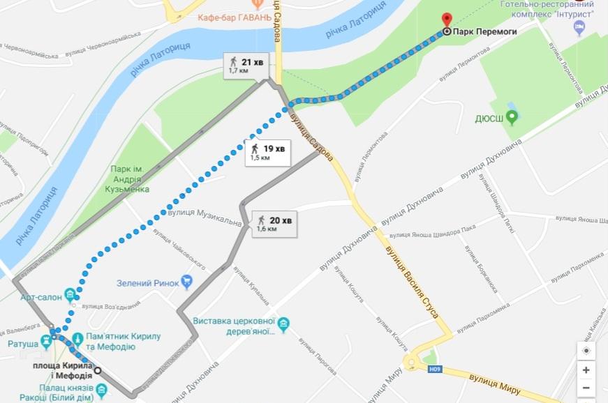 карта Мукачево