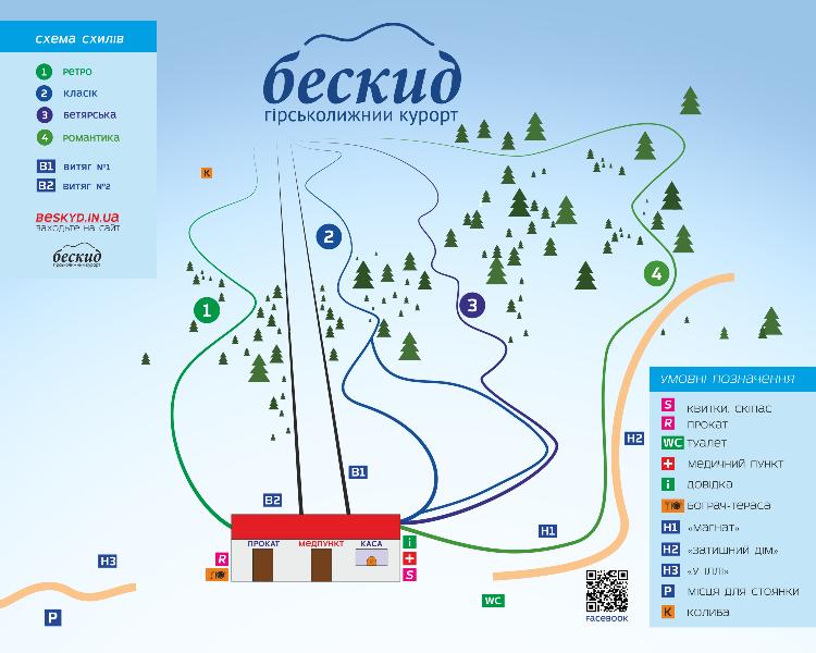 карта схилів Бескид